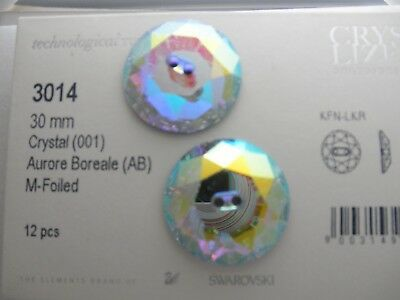 2-Art # 3014 Swarovski 30Mm Large Buttons* Crystal Ab * Lot O 11