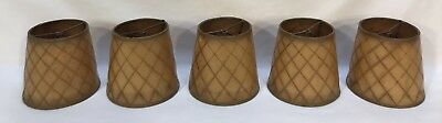 Set Of 5 Antique Arts & Crafts Leather Like Paper Lamp Chandelier Sconce Shades