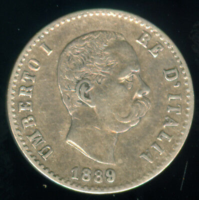 Scarce 1889 Italy Silver 50 Centimes