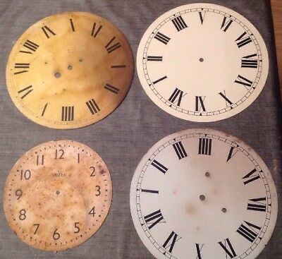 """Antique Wall Dial Clock Dial Collection Of 3 12"""" Plus 9"""" Uncleared Unrestored"""