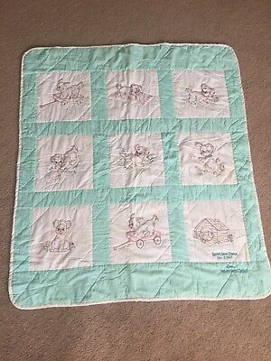 "Crib size handmade quilt Teal White with puppies Approx size 41""x46"" SEE PHOTOS"