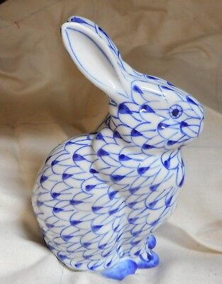 "Rabbit hare hand painted china Cobalt Blue BUNNY RABBIT Figurine 5 1/3"" tall"