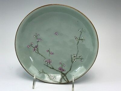 Signed Chinese Celedon Green Hand Painted Bowl Cherry Blossoms