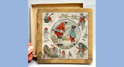 1800s antique victorian FRENCH NURSERY RHYME HANKIE or GAME BOX