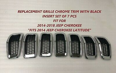 Replacement Grille Fit For Jeep Cherokee Chrome Black 2014-2015-2016-2017-2018