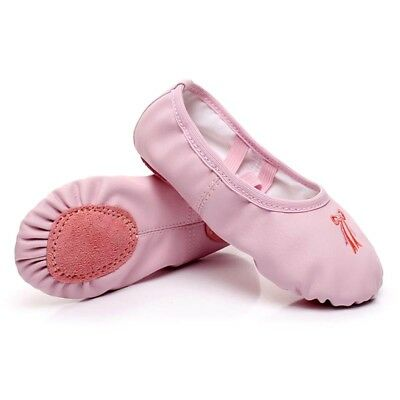 Girl Leather Ballet Dance Shoes Medium Pull on Split-Sole Toddler Dancewear Pink