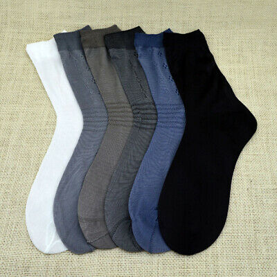 10 Pairs Men Pure Color Business Socks Casual Bamboo Charcoal Short Sheer Sock
