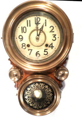 1890 Figure 8  Hour Striking Wall Clock With Brass Front Bezels & Rosettes
