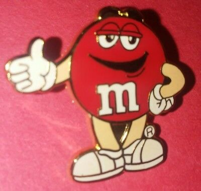 """Mars M&m Candy Red Vintage 1"""" Enamel Collectible Pin Authentic Rare A"""