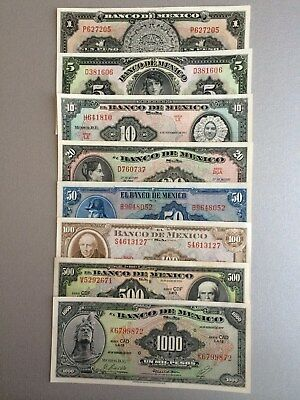 Mexico Banknote Series Set 1960's Unc. Abnc 8 Banknote Mex.