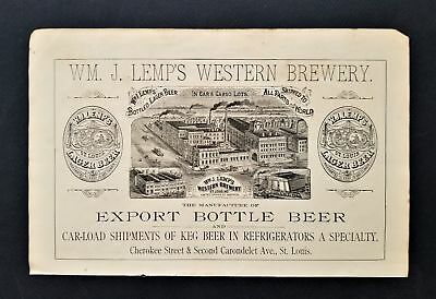 1800s antique Wm LEMPS WESTERN BREWERY AD engraving bottle beer st louis mo
