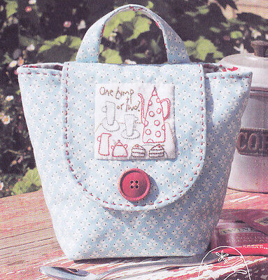 Tea Anyone? Mug Bag - pretty stitchery & pieced PATTERN - Hatched & Patched
