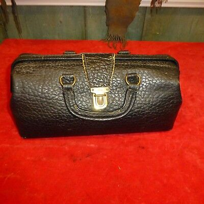 """Antique """" LILLY """" LEATHER Alligator Skin Doctor's Bag - 13"""" X 6"""" X 6"""" -EXC"""