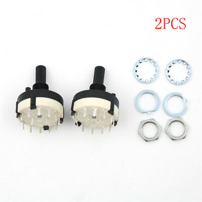 2pcs RS26 2 Pole Position 6 Selectable Band Rotary Channel Selector Switch HC