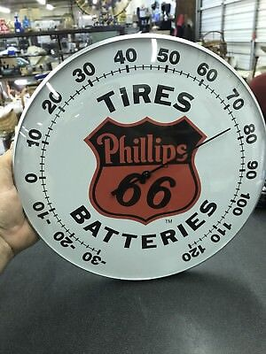 """Phillips 66 12"""" Round Thermometer Glass Dome Front & Aluminum Body"""