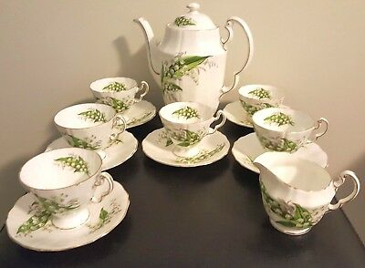 Vintage Tea Set Adderley Lily of the Valley H715 Cups, Saucer Creamer Teapot