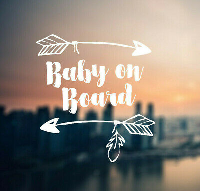 Baby On Board Vinyl Decal Whimsicle/Hipster themed Car Sticker Surface Washable