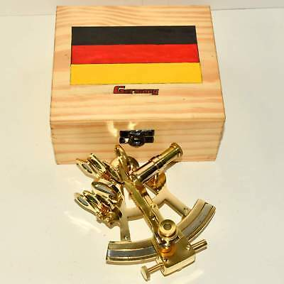 Nautical Maritime Victorian Travelling Brass Sextant with Flag Wooden Box