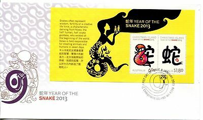 Christmas Island 2013 Year of the Snake MS FDC