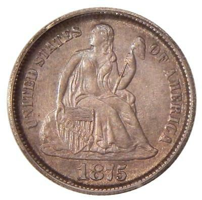 1875-CC 10c ICG MS-61 CC BELOW BOW ~ CARSON CITY SEATED LIBERTY DIME