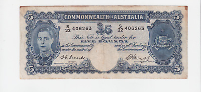 1950's Australia Coombs Watt 5 Pounds Five £5 Paper Banknote note W-381