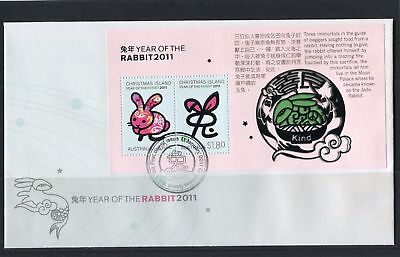 Christmas Island 2011 Year of the Rabbit MS FDC