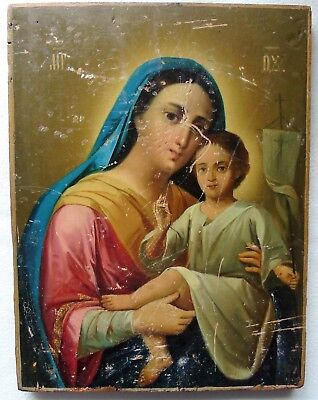 Antique Russian icon of the Virgin. 19th century. Big size.