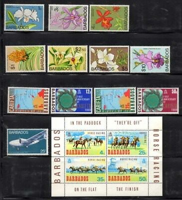 Stamps Barbados selection mint lightly hinged orchids, horses etc.from the 60's