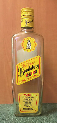 Bundaberg Rum 750ml - Old 3 label - Underproof 37.1% - Empty Bundy Bottle