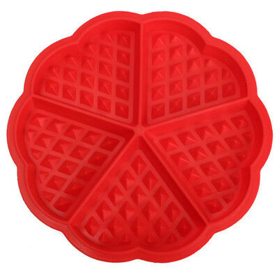 Family Silicone Waffle Mold Maker Pan Microwave Baking Cookie Cake Muffin B A5A8