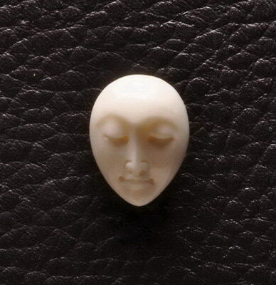 Hand Carved Oval Moonface Natural Buffalo Bone Cabochon Cab 19X14X5Mm