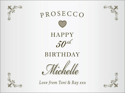 Personalised HAPPY BIRTHDAY Prosecco Label (any age 21st 30th 40th 65th etc)