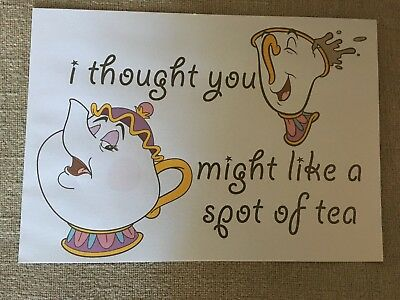 Beauty And The Beast A4 Page Print Out Chip And Mrs Potts