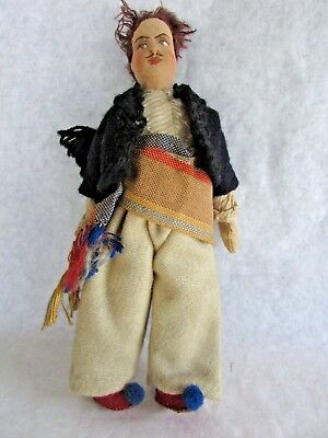 """Vintage Antique Hand Painted Cloth Eastern European Male Doll - 8 1/2"""" Tall"""