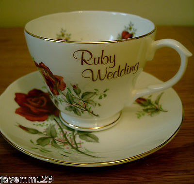Royal Sutherland China Cup & Saucer Ruby Wedding Anniversary Rose Perfect Gift