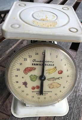 AMERICAN FAMILY 25 LB POUND KITCHEN SCALE WHITE VINTAGE - Shabby Chic / Retro