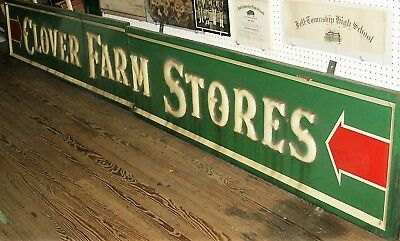 Clover Farm Store sign from 1940 in two parts 168 X 22