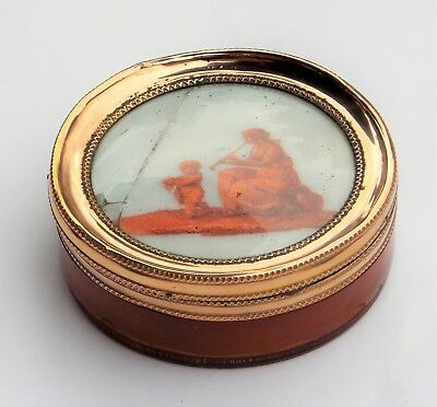 Rare 18Th Century 22Ct Gold Mounted Greek Muse Miniature Horn Snuff Box