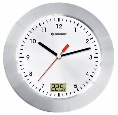 Wall Clock Mytime Bath For Bathroom With Temperature Display - White/ Silver