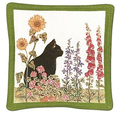 Alice's Cottage Cotton Scented Spiced Mug Mat Coaster Black Cat Garden - NEW