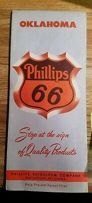 1958 PHILLIPS 66 Oklahoma State Map