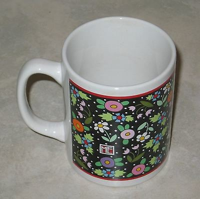 Beautiful Mary Engelbreit Black Floral Ceramic Coffee Mug-Mint Condition
