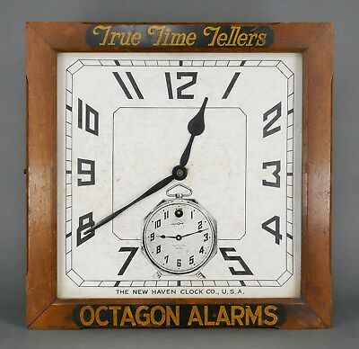 Antique New Haven Octagon Alarms Dealers Advertising Balcony Wall Clock
