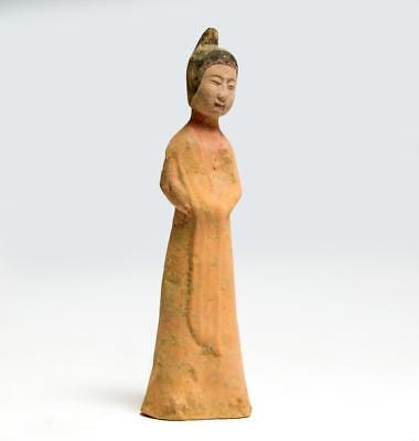Beautiful Chinese Tang dynasty pottery statuette of a lady; 7th-8th century.