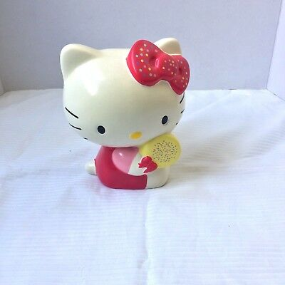 Sanrio Hello Kitty Girl's Coin Bank Pink White Ceramic Yellow Sprinkle Cookie