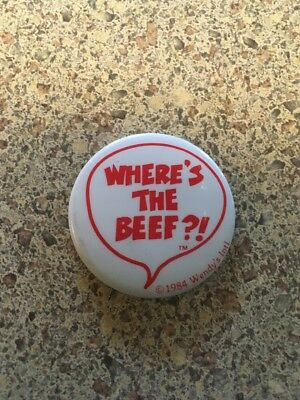 """Vintage WHERE'S THE BEEF BUTTON Pin, 1.5"""" Wendy's International 1984"""