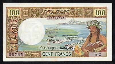 100 FRancs From Papeete Aunc Light Central Fold