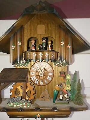 Vintage Cuckoo Clock,musical animated black forest  wall clock Regula movement