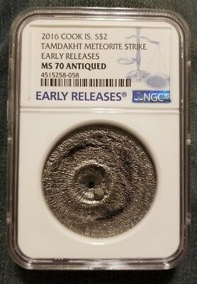 2016 Cook Islands Tamdakht Meteorite Strike  Silver Coin NGC MS 70 Antiqued RARE