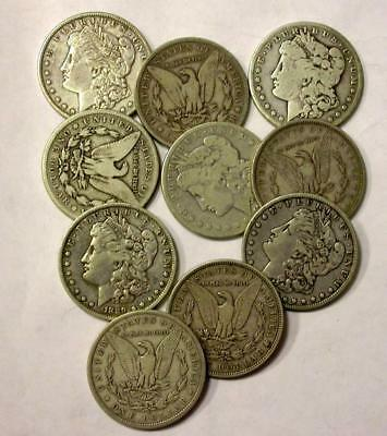 Mixed Old Silver  Dollars - Low Grades - 10 Assorted Coin Lot Id# Mm892